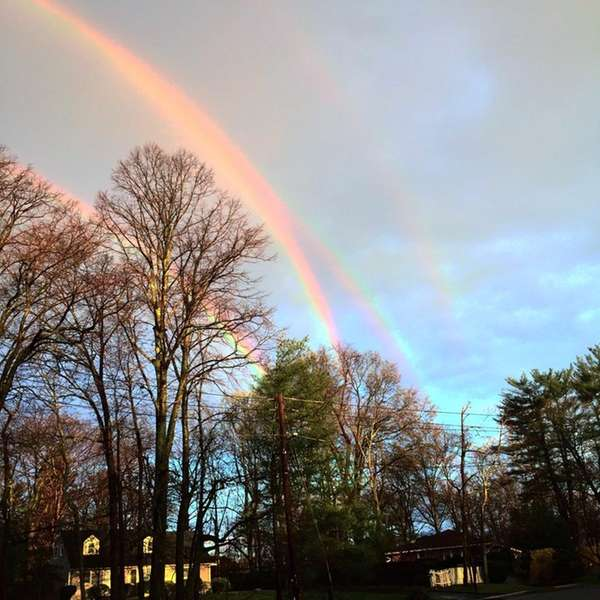 A rare quadruple rainbow was seen from the