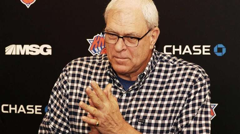 Knicks president Phil Jackson fields a question from