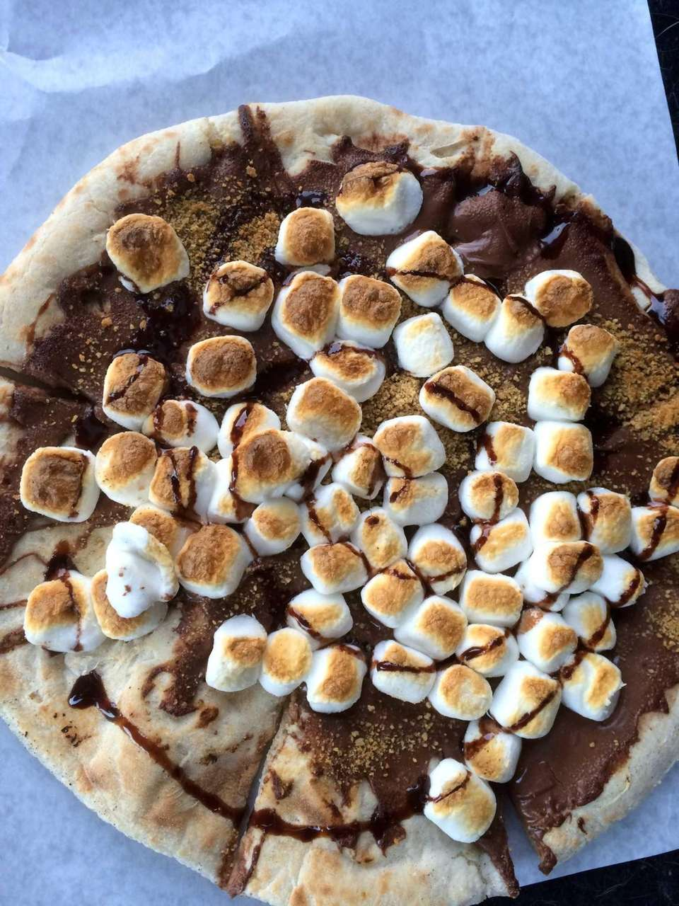 Meet the s'mores sweet pizza. Nonna Messinas pie
