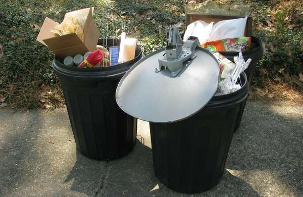 A photo shows trash inside garbage receptacles.