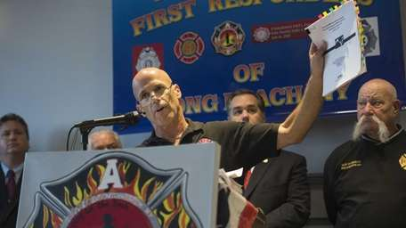 Retired NYC firefighter Joseph Miccio talks during a