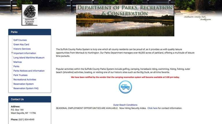 This notice about the Suffolk camping reservation system