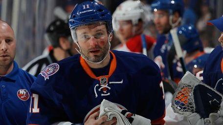 Lubomir Visnovsky #11 of the New York Islanders