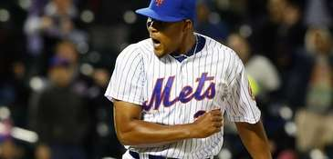 Jeurys Familia reacts after the final out of