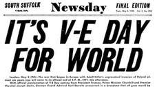 Newsday cover published on May 8, 1945. Headline:
