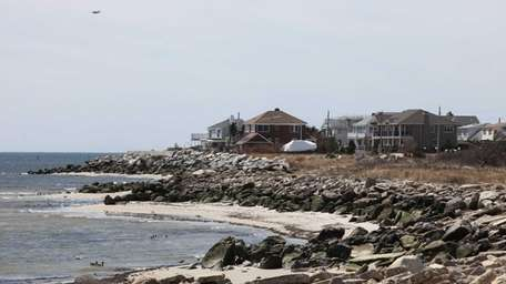 Waterfront homes are pictured in Point Lookout Wednesday,