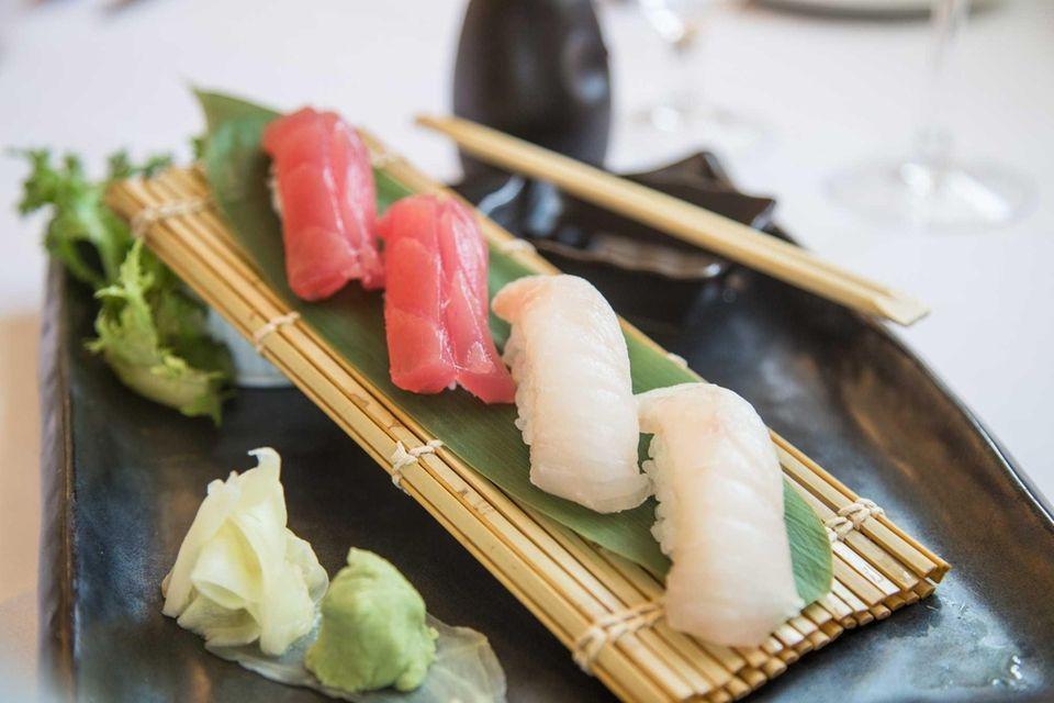 Tuna and fluke sushi highlight the uncooked fish