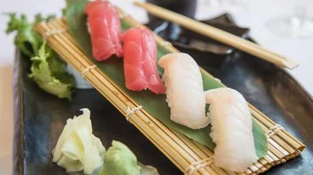 Tuna and fluke sushi highlight the uncooked fish