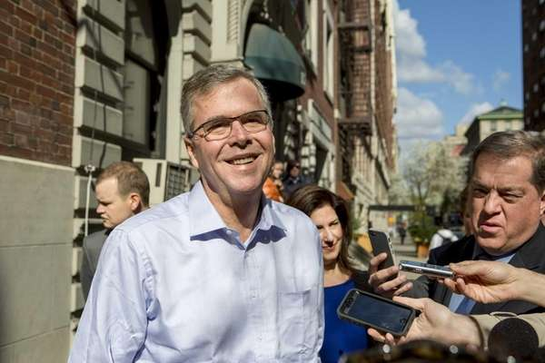 Potential Republican presidential candidate Jeb Bush departs a