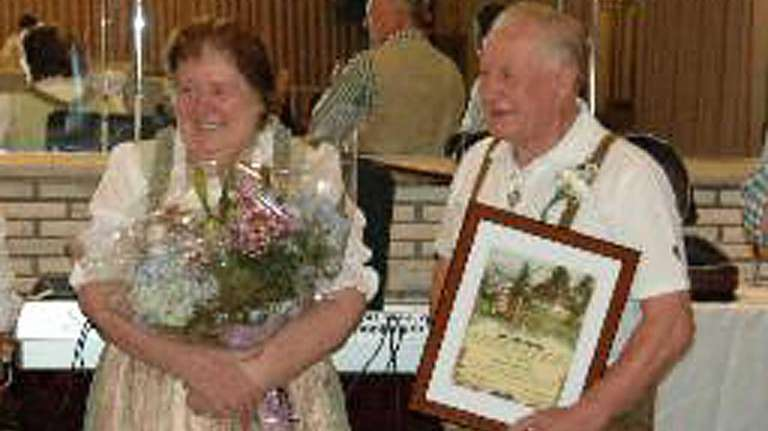 Marie and Jerry Hugel served their folk dance