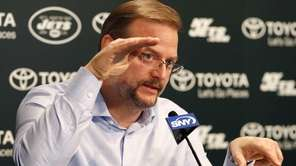 Jets general manager Mike Maccagnan speaks to reporters
