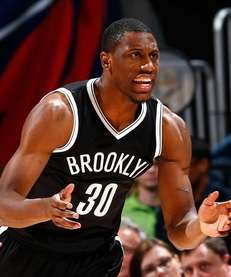 Thaddeus Young of the Brooklyn Nets reacts after