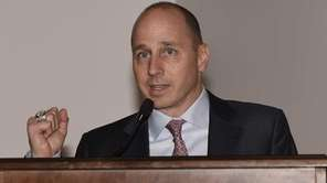 General Manager Brian Cashman speaks at a press
