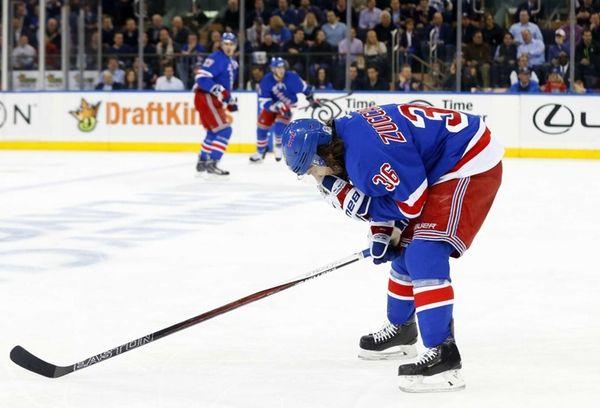 Mats Zuccarello of the New York Rangers skates