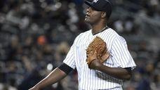 New York Yankees starting pitcher Michael Pineda walks