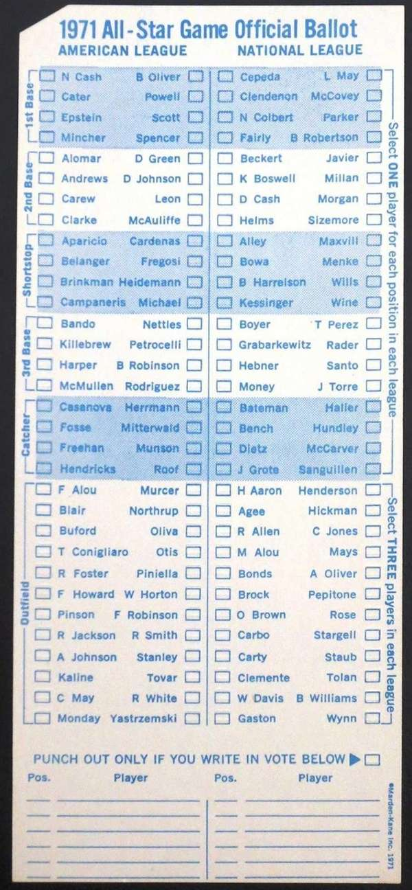 1971 Major League All-Star Game ballot.