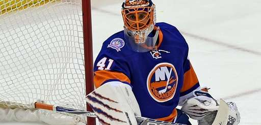 New York Islanders goalie Jaroslav Halak makes a