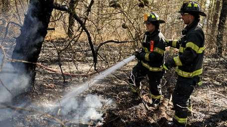 Volunteer firefighters from more than two dozen departments