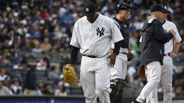 New York Yankees starting pitcher CC Sabathia walks