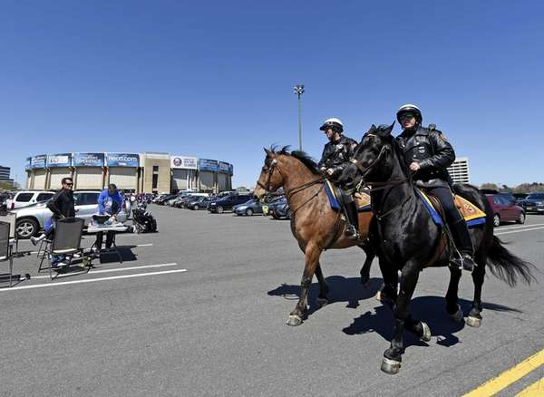 Nassau County Police Department Mounted Units patrol the