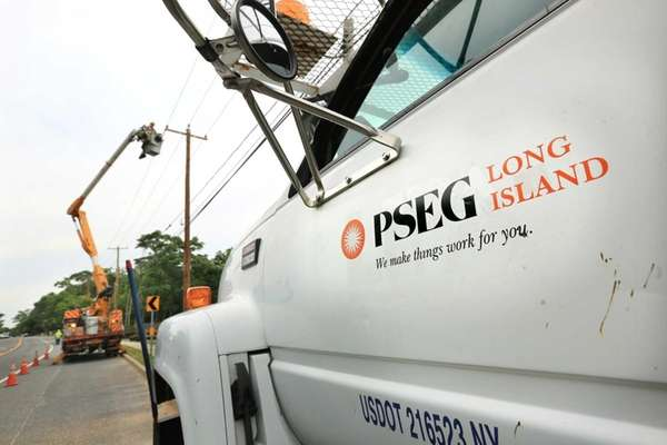 A PSEG Long Island crew performs work on