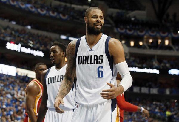 The Dallas Mavericks' Tyson Chandler (6) looks toward