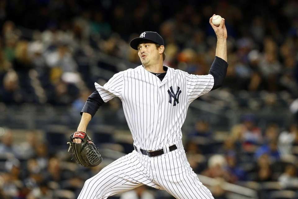 Andrew Miller of the New York Yankees pitches