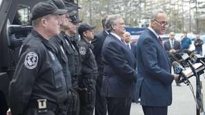 Sen. Charles E. Schumer is joined by Nassau