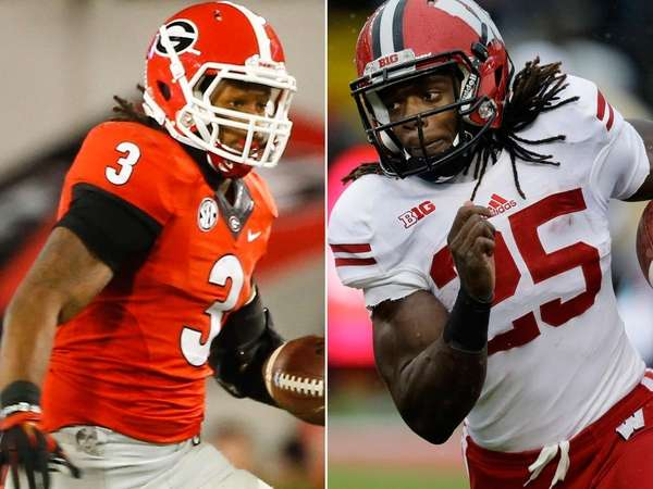 Georgia running back Todd Gurley, left, and Wisconsin