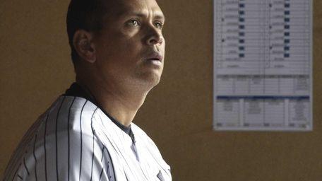 New York Yankees third baseman Alex Rodriguez looks