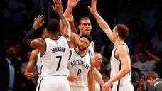 Joe Johnson #7, Deron Williams #8, Brook Lopez