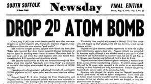 Newsday cover published on Aug. 9, 1945. Headline: