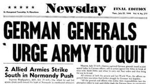 Newsday cover published on July 25, 1944. Headline: