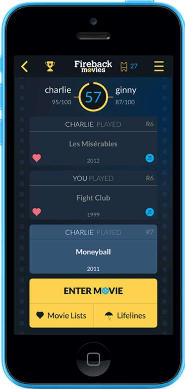 Fireback Movies is a trivia game for iPhone