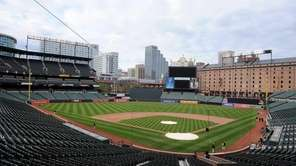 An empty Oriole Park at Camden Yards is