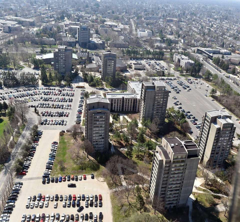 Aerial views of Hofstra University's dormitory towers are