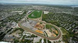Shown is an aerial view of Belmont Racetrack