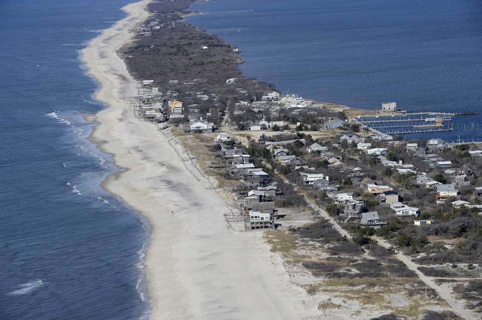 The shoreline on Fire Island as seen on