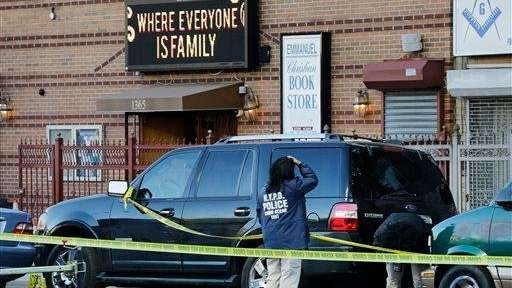 New York Police Department crime scene investigators photograph