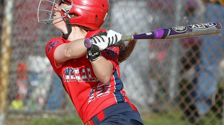 MacArthur's Nicole Moustouka doubles during the Nassau softball
