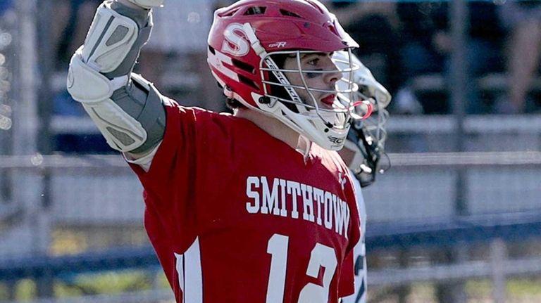Smithtown East's Trent Starr (12) celebrates a goal