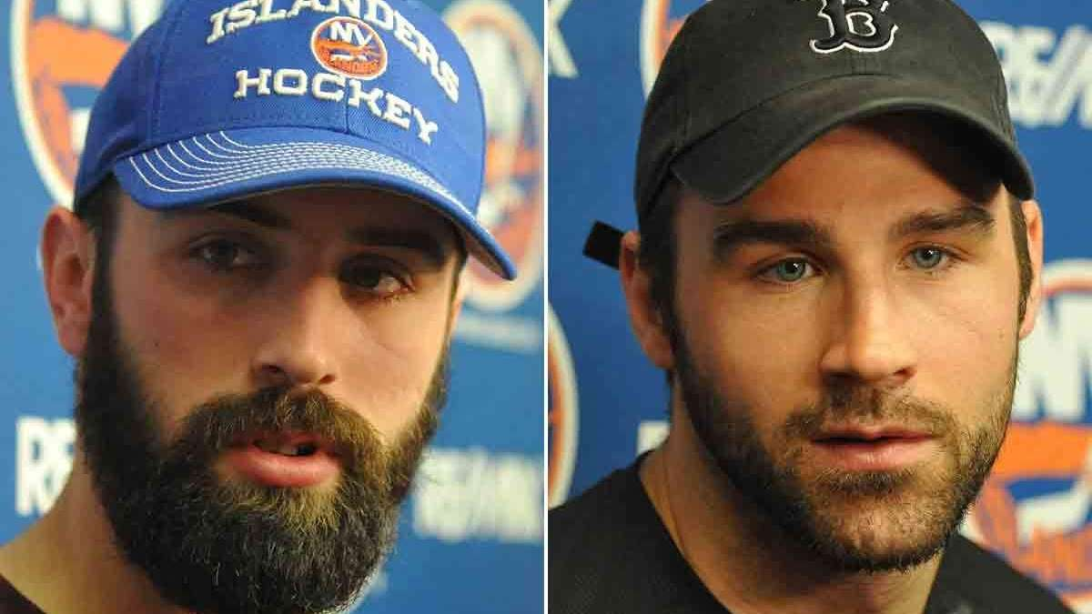 The Islanders' Nick Leddy, left, and Johnny Boychuk