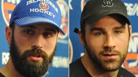 The Islanders' Nick Leddy, left, and Johnny Boychuk