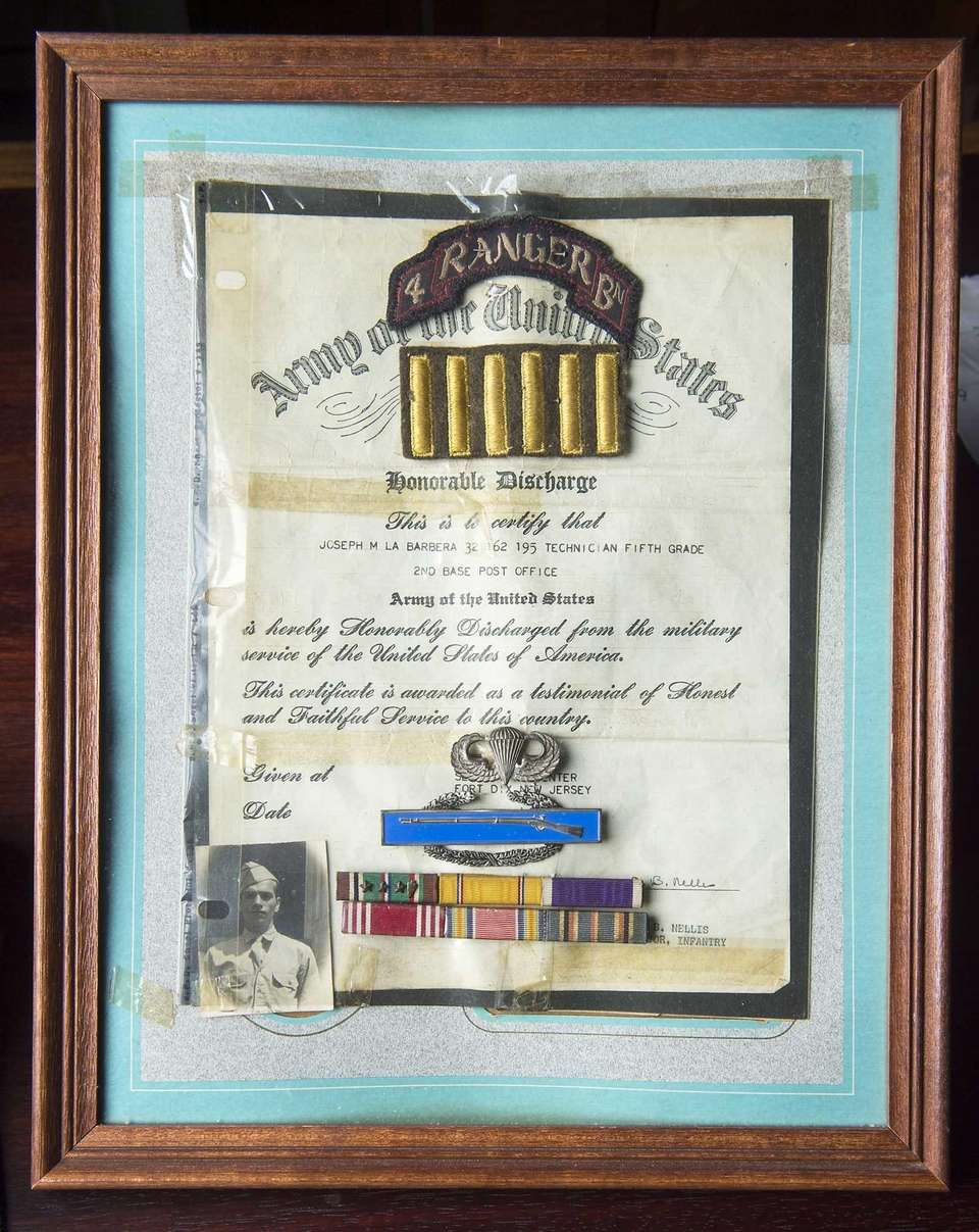 World War II veteran Joseph LaBarbera's honorable discharge