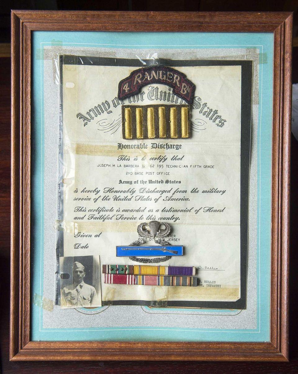 World War II veteran Joseph LaBarbera's honorable discharge