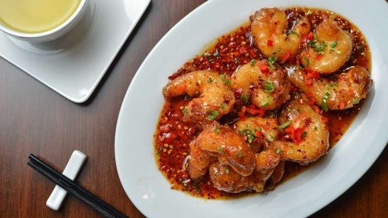 Jumbo prawns in a sweet-and-spicy chili sauce highlight