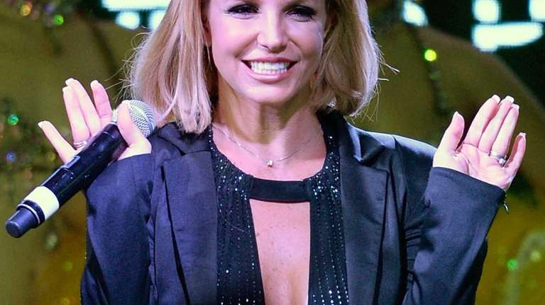 Britney Spears appears on stage at The LINQ