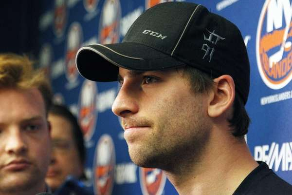 New York Islanders captain John Tavares speaks to