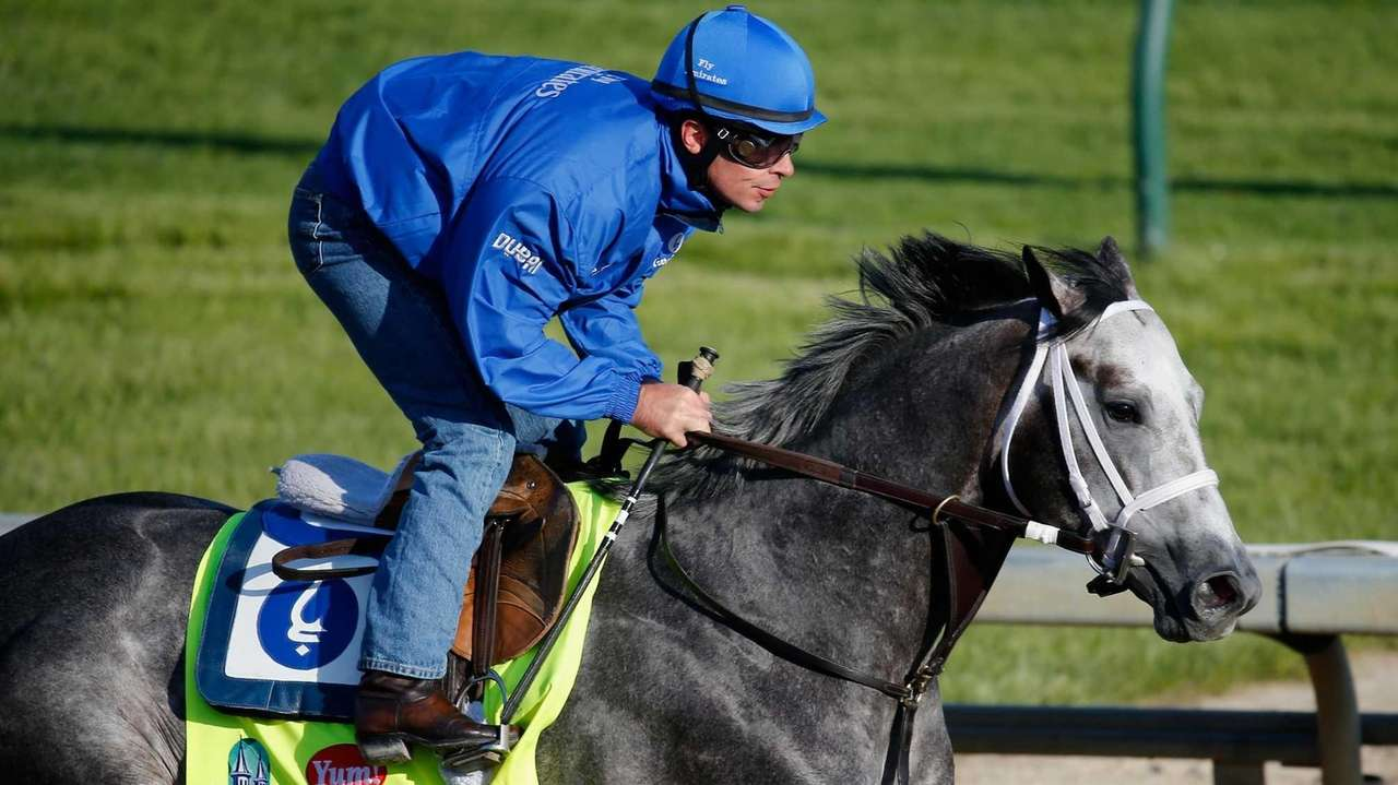 Frosted goes over the track during morning training