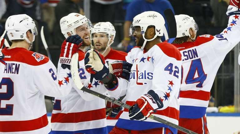 Joel Ward of the Washington Capitals celebrates after